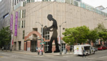 The 'Hammering Man' sculpture, found outside the Seattle Art Museum.