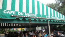 Café du Monde awning at the French Quarter in New Orleans, Louisiana.
