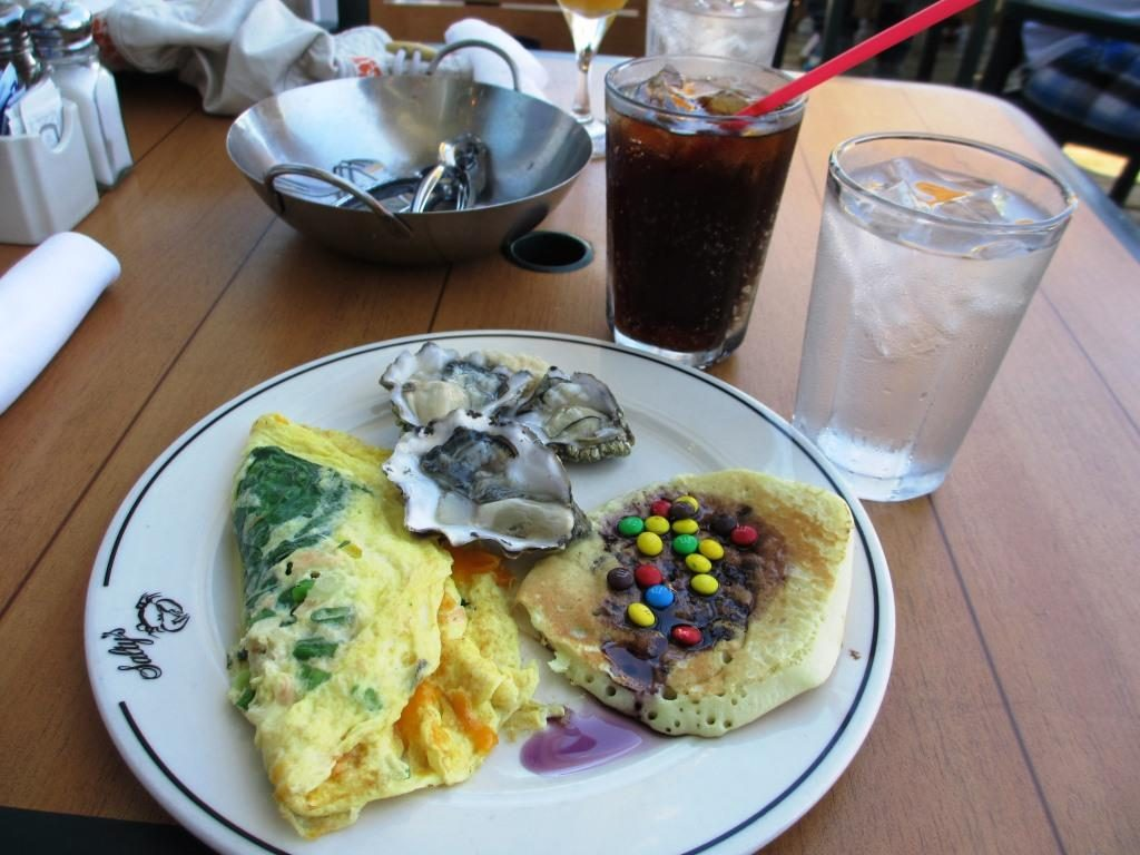 Crab and smoked salmon omelet, raw oysters, chocolate silver dollar pancakes with blueberry syrup.