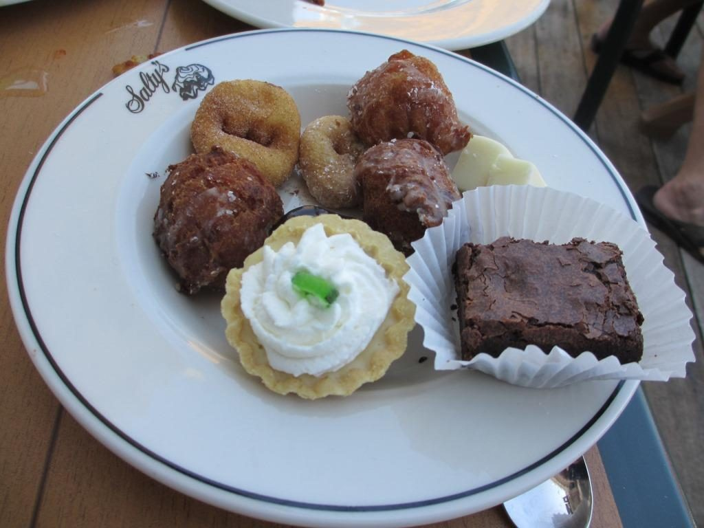 Donuts, brownie and key lime pie.