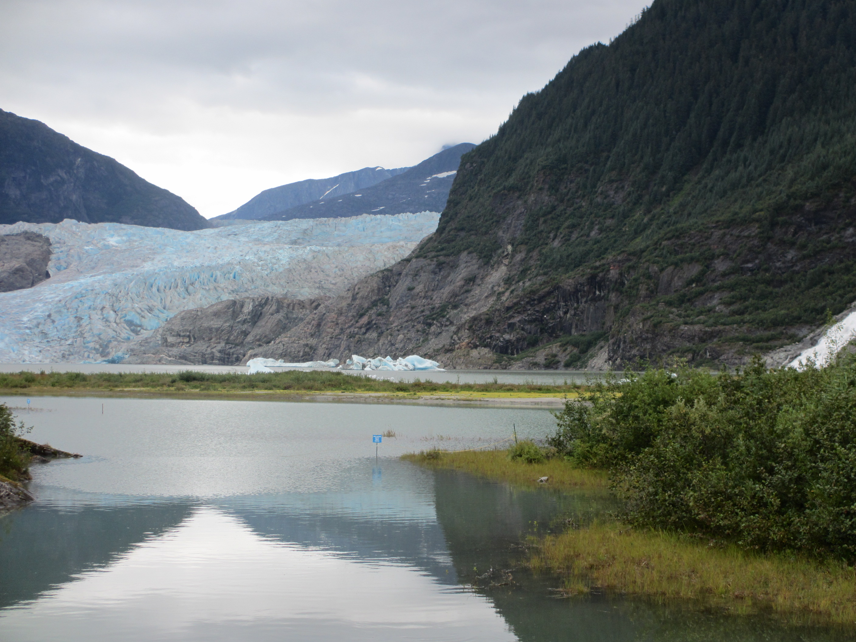 Mendenhall Glacier and Lake with Nugget Falls on the far right