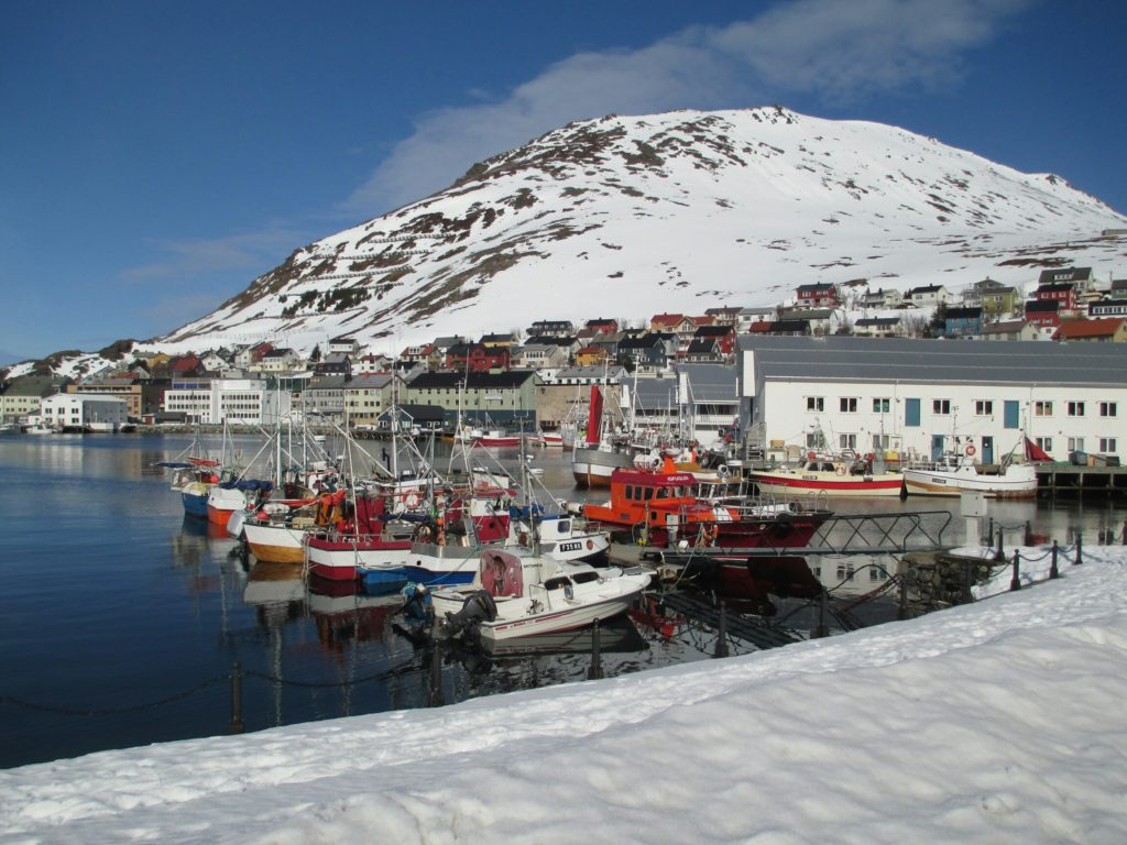 Small boats moored in Honningsvåg, Nordkapp, Norway.