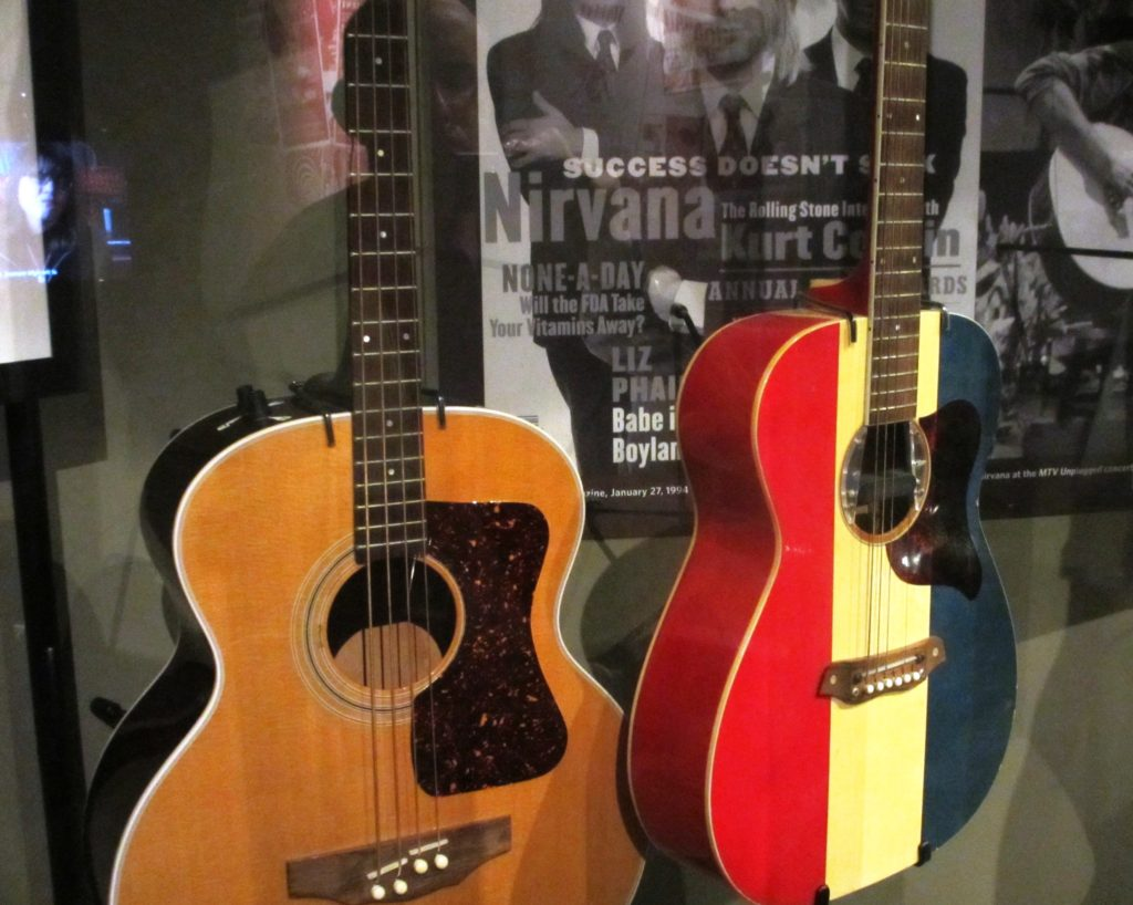 Guild acoustic bass and Buck Owens American acoustic guitar as played during the 'MTV Unplugged' concert.