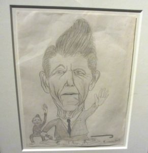 """Untitled (Ronald Reagan)"". Pencil sketch by Kurt Cobain during his senior year of high school, 1984-85."