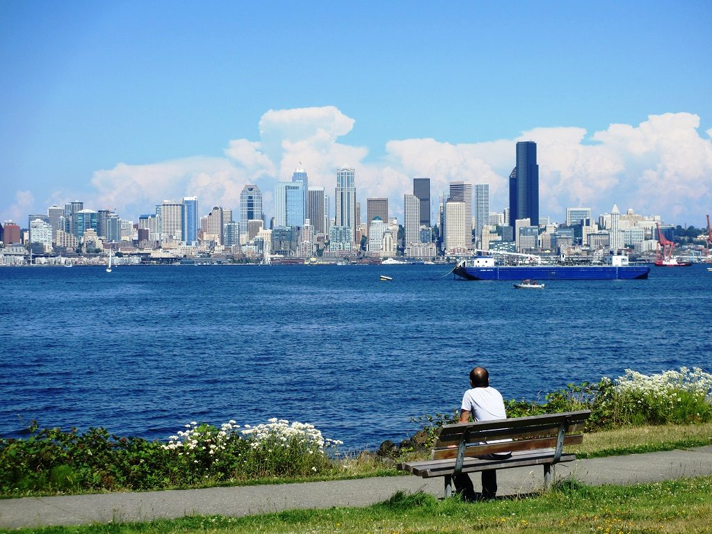 Man enjoying the view from trail to Alki Beach.