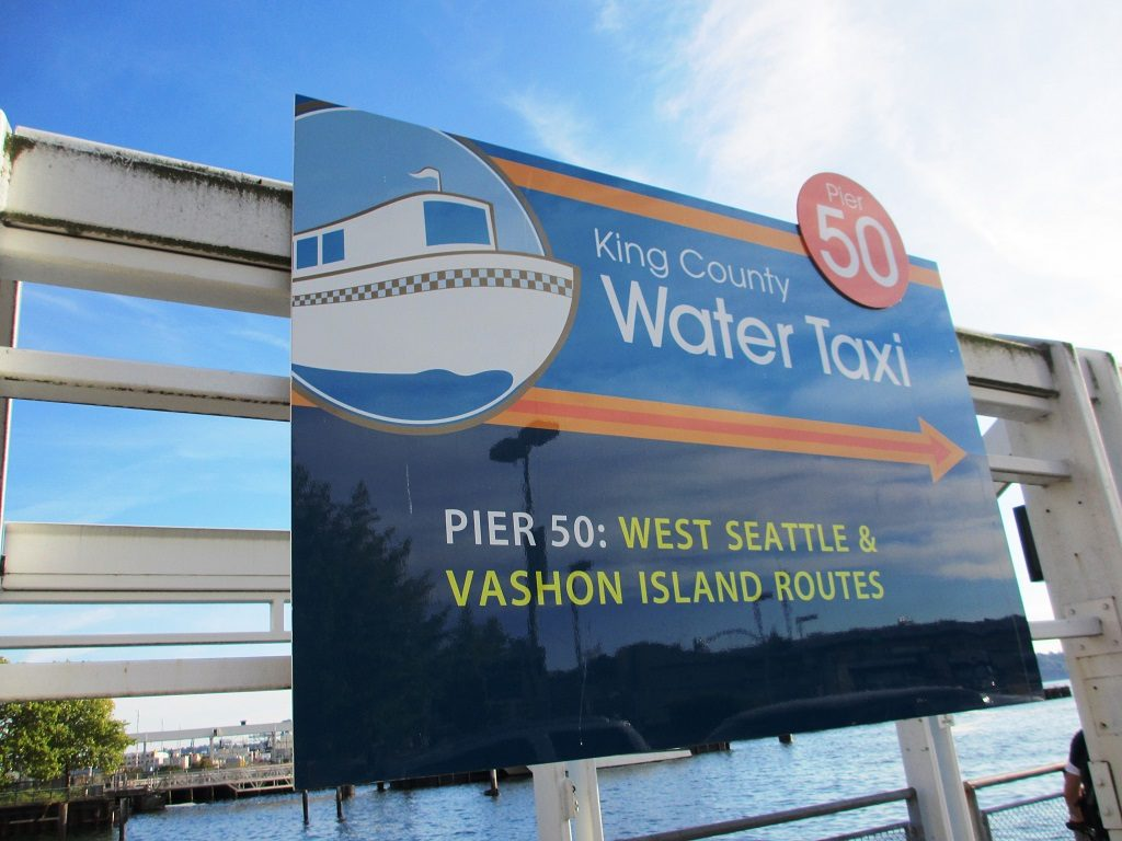Sign for the King Count Water Taxi, at Pier 50 in downtown Seattle.