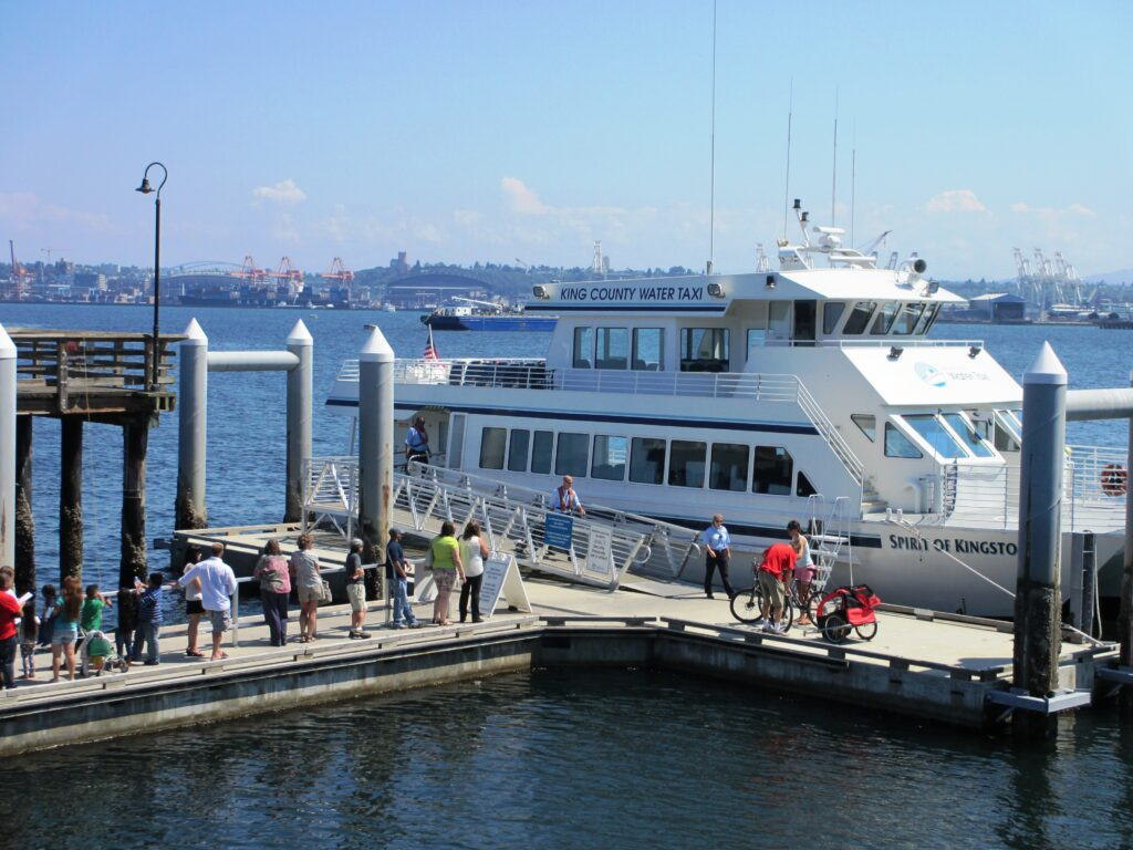 Boarding the King County Water Taxi at Seacrest Park, West Seattle