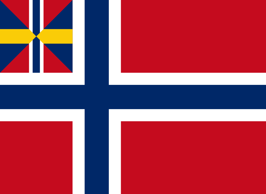Flag of Norway under Swedish union, 1844 to 1899.
