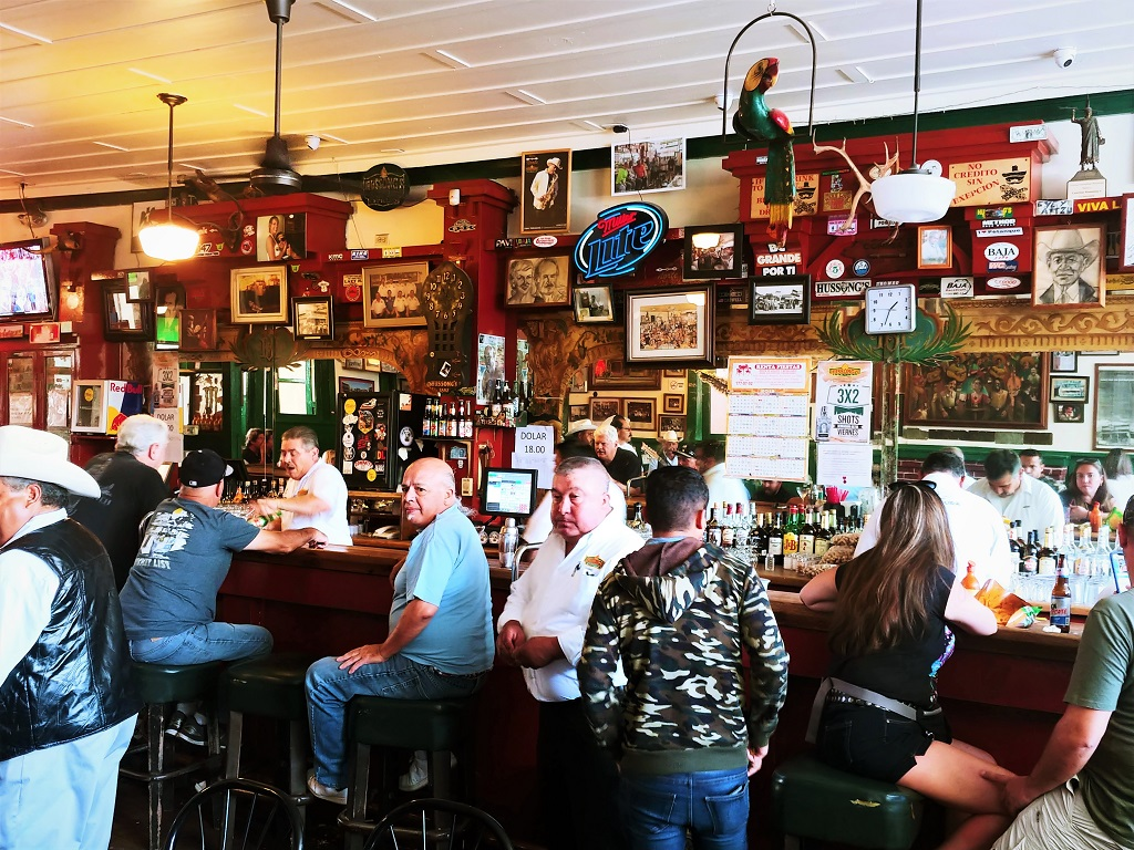 The bar at Hussong's Cantina is a lively mix of locals and tourists.