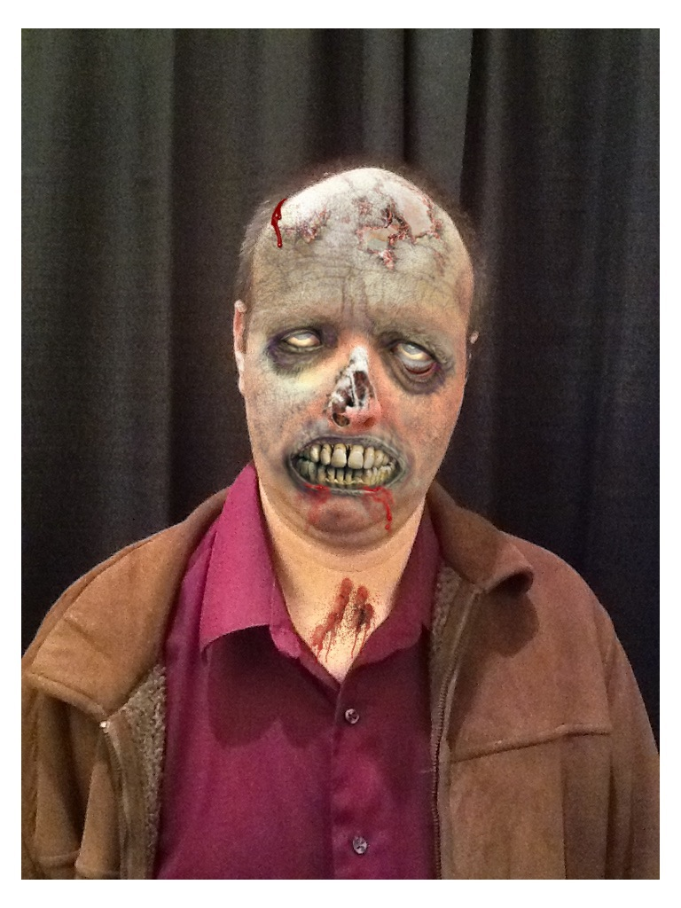 """Erik Tomren after being """"zombified"""" by a vendor at the 2011 ZomBcon."""